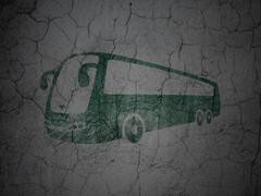 Travel concept: Bus on grunge wall background Stock Illustration