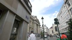 People walking by Brussels Stock Exchange building, Brussels Stock Footage
