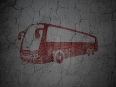 Travel concept: Bus on grunge wall background - stock illustration