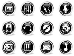 Audio and music simple vector icons Stock Illustration
