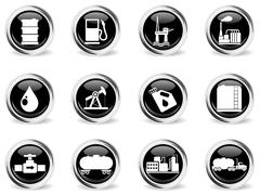 Oil and petrol industry objects icons Stock Illustration