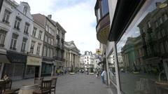 People walking on Zuidstraat in Brussels Stock Footage