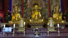 Buddhist statues at the Sinheungsa temple. Seoraksan NP, South Korea. Stock Footage