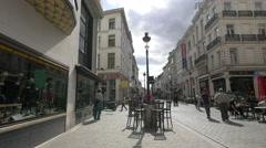 Rue du Midi with restaurants, in the city center of Brussels Stock Footage