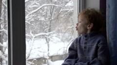 Boy and Winter Window HD Stock Footage