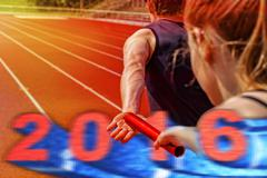 relay race handing over 2016 - stock photo