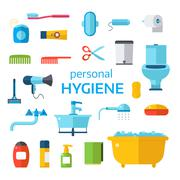 Hygiene icons vector set isolated on white background - stock illustration