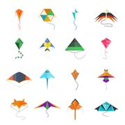 Stock Illustration of Flying kite vector collection Isolated on a white background