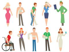 Trauma accident and  human body safety vector people silhouette - stock illustration
