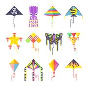 Flying kite vector collection Isolated on a white background - stock illustration
