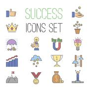 Business success vector icons set isolated on white - stock illustration