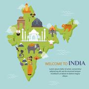 India landmark travel map vector illustration - stock illustration