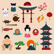 Japan landmark travel vector icons elements - stock illustration