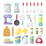 Kitchen dishes vector flat icons isolated on white background - stock illustration