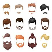 Hairstyles beard and hair face cut mask flat cartoon collection Stock Illustration