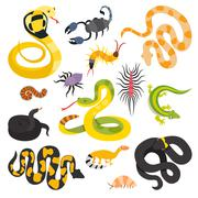 Vector flat snakes and other danger animals collection isolated on white - stock illustration