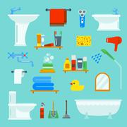 Bathroom and toilet flat style vector icons isolated on background Stock Illustration