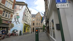 Rue du Marché au Charbon with painting on wall in Brussels Stock Footage