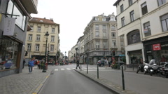 Rue du Midi and Rue du Lombard seen in the afternoon, Brussels Stock Footage