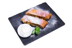 Apple pie (vienna strudel) with ice cream, isolated Stock Photos