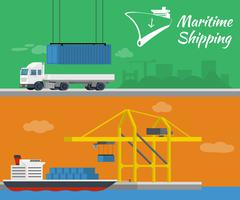 Stock Illustration of Container ship at freight port terminal. Truck delivery of container.