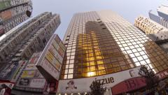 Low angle shot of the commercial district in central Hong Kong. FullHD video Stock Footage