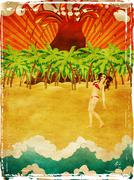 Grunge cartoon volcano island and girl Stock Illustration