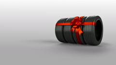 Tyre tire isolated on white animated present gift with mask Stock Footage