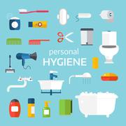 Hygiene icons vector set isolated on white background Stock Illustration