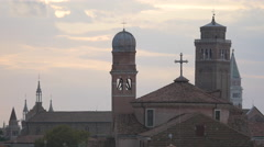 San Nicola da Tolentino church and other church towers seen in Venice Stock Footage