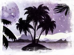 Grunge night tropic island - stock illustration