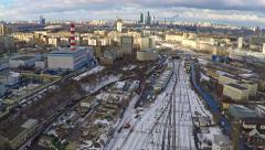 Moscow industrial and residential areas in winter, aerial pan shot - stock footage