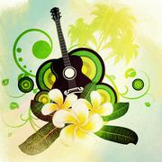 Stock Illustration of Grunge plumeria flowers and guitar