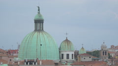 San Simeone Piccolo Church's domes with statues seen on a cloudy day in Venice Stock Footage