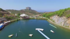 Golden Cable Park and Gold City tourism complex at summer Stock Footage
