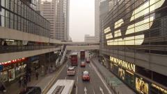 Busy, urban, commercial street in downtown Hong Kong. FullHD video - stock footage