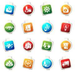 Alternative energy icons - stock illustration