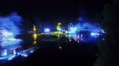 Stock Video Footage of Performance with fireworks on Garden pond during Art Festival