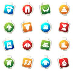 Baby clothes icons set - stock illustration