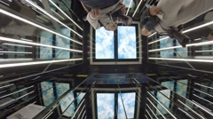 High tech elevator to Sky100 observation deck. FullHD video Stock Footage
