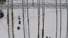 Smooth aerial video of railroad tracks in winter Stock Footage