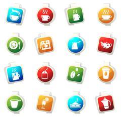 Cafe icons set - stock illustration