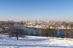 Bucharest City View From Youths Park (Parcul Tineretului) After Heavy Winter - stock photo