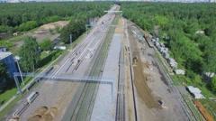 Construction site of MKZD railroad near Belokamennaya station Stock Footage
