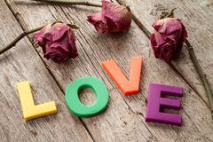Dry roses with word LOVE - stock photo