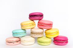 French sweet delicacy macaroon on white background Stock Photos