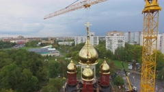 Building site of Holly Blessed Matrona of Moscow church Stock Footage