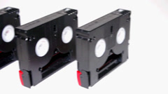 A number of video cassettes for camcorder Stock Footage