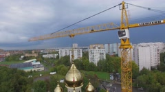 Crane near edifice of Holly Blessed Matrona of Moscow cathedral Stock Footage