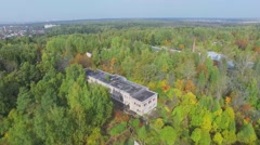 Buildings among plants in national park on Elk Island at autumn Stock Footage